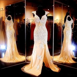 Wholesale Classic Wedding Pictures - 2015 Prom Dresses with Slit Beaded Appliques Mermaid Style Backless Cap Sleeves Long Wedding Party Dresses Party Evening Gowns
