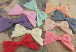 Wholesale Bow Cameo - Wholesale DIY Multicolor Flatback Resin Bow Tie Cameo Cabochons For Jewelry Decoration 47*25mm 100pcs