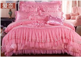 Wholesale Six Piece Bedding Sets - Wholesale-Red wedding bedding chinese style home textile silk satin six pieces set 2 core 60 A422