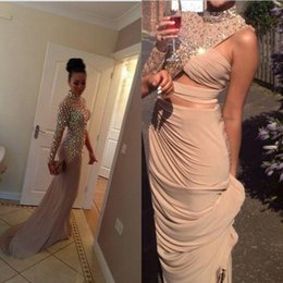 Wholesale High Necks Dresses Red - Sexy One Shoulder Celebrity Dresses Red Carpet With Crystal Formal Gowns Special Occasion High Neck Party Mermaid Evening Dress Custom Made