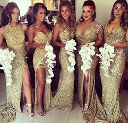 Wholesale Cheap Long Black Peplum Dress - Gold Sequined Bridesmaid Dresses with Long Train Sexy Side Split Sheath Party Evening Gowns 2016 Cheap Bridal Maid of Honor Dress