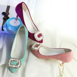 Wholesale Cheap Blue Pumps - 2017 Fashion Summer style Mint Pumps 7cm High heels Sexy Bridal Shoes Women Plus size Platform PU Leather Point toe Cheap stores