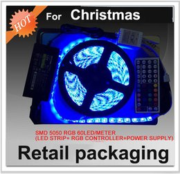 Wholesale Retail Christmas Decorations - Retail packaging 5050 RGB LED Strip for Christmas IP65 waterproof 300leds 44keys remote controller DC12V 5A Power adapter Free shipping