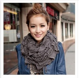 Wholesale Girls Ladies Knitted Scarves - 12 Colors Newest Women Winter Warm Knit Fringe Tassel Neck Wraps Circle Snood Scarf Shawl lady girls Dhgate scarves Free Shippign R1384