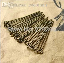 Wholesale Eye Pins For Jewelry - Wholesale-Bronze Jewelry Eye Pins Needles Findings 16 20 26 28 30 40 50mm 200pcs lot Fit For Earring Accessories Crafts Making DIY Y710