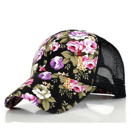 Wholesale Girls Hat Floral - Floral Snapback Baseball Cap Summer Mesh Ball Caps Golf Hats Visors For Girls 5 Colors 10Pcs lot Free Shipping