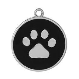 """Wholesale Enamel Charms Round - Charm Pendants Round Silver Tone Black Bear paw Pattern Enamel 34mm(1 3 8"""")x 30mm(1 1 8""""),10 PCs 2015 new"""