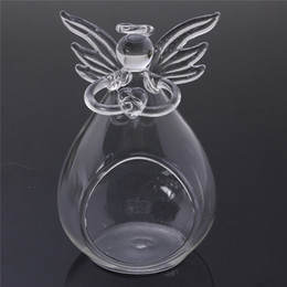 Wholesale Glass Christmas Home Decoration - Home holiday Christmas decorations for creative transparent crystal glass angel candle holder wedding candlelight dinner gift order<$18no tr