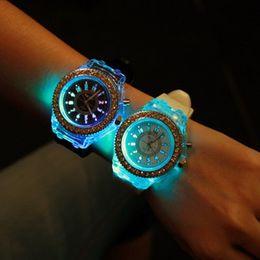 Wholesale Silicon Watch Brand - 2016 Top Brand Luxury LED Sport Quartz Ladies Watch Women Luminous Fashion Silicon Watch Geneva Rhinestone Watch Geneva Rubber Watch Band