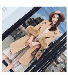 Wholesale Camel Wool Coat Women - High Quality Autumn Winter Women's Wool Coat Solid Slim Pink Coat Korean Fashion Female Jackets Ladies Camel Woolen Coat