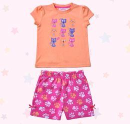 Wholesale Minion Pajamas For Girls - Wholesale-Kids\childrens\enfant\ninos\minions summer cotton clothes sweet cat foot print pijamas\pajamas\pyjamas sets for girls\fille