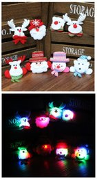Wholesale Pin Up Kids Wholesale - Wholesale LED Christmas Brooches Snowman Santa Claus Bear Pins Badge Light Up Brooch Christmas Gift Party Decoration Kids Toy