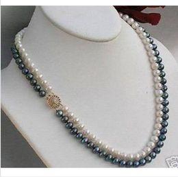 2019 fecho de ouro preto pérola 2 linhas 8-9 mm preto + branco Akoya SOUTH SEA pearl necklace 18