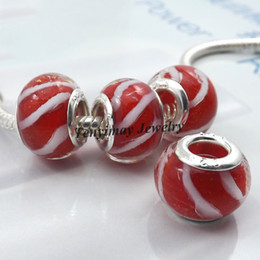 Wholesale Lampwork Murano Glass Beads - Murano Lampwork Glass Beads European Charm Beads Big Hole Beads For Snake Chain Bracelet 100pcs lot Wholesale LB818
