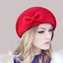 Красные войлочные шляпы онлайн-Wholesale-Female Cute England British Australian Wool Felt Beret Hat Women Lady French Artist Red Black Khaki Flat Cap Bow Boina Feminino