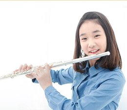 Wholesale Woodwind Musical Instruments - Woodwind musical instrument cupronickel body C tone 16 closed holes silver plated sterling silver mouthpiece flute