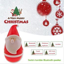 Wholesale Wireless Digital Music - Mini Tumbler Santa Claus Bluetooth Speaker Wireless Smart Bluetooth Bass Music Audio Speaker Best Christmas Gift c193