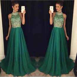 Wholesale Nude Sexy Women Photo - 2016 Sexy Prom Dresses Crystal Beaded Green Women A-Line Chiffon Pageant Long Formal Evening Gowns robe de soiree dress for graduation