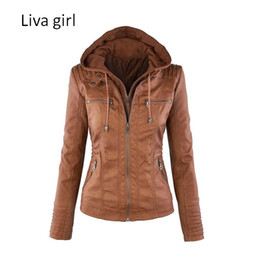 leather jackets silver women Coupons - Wholesale- Liva Girl Hot Sale Women Fashion Casual Jackets Long Sleeve Solid Color PU Leather Jackets Plus Size Women Zipper Slim Jackets