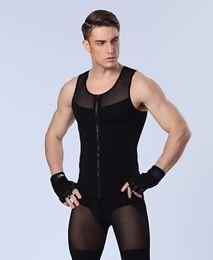 Wholesale Men Mesh Underwears - New Arrival Sexy Men's slimming Underwears body shaper fitness Vests sculpting Powernet Strong mesh Zipper Shapers Tank tops Drop Shipping
