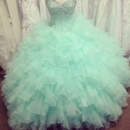 Wholesale Mint Green Organza - Gorgeous 2017 Mint Princess Quinceanera Ball Gowns With Shiny Crystals Sweetheart Ruffles Evening Prom Dresses Beading Formal Party Gowns
