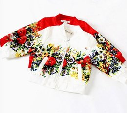 Wholesale Girls White Jackets Coats - Flower Printing Baseball Floral Long Sleeve Kids Clothes Girls Jackets Children Clothing Outwear Coats Red White D5338