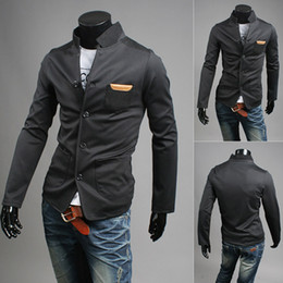 Wholesale British Tunic - 2016 Korean version of the British stand-up collar Slim suits men and young men knit tunic suit stitching single West 4355