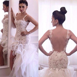 Wholesale Asymmetrical Beach Garden Wedding Dresses - Sexy Mermaid Beach Wedding Dresses Lace Applique Bridal Gowns 2016 Illusion Backless Ruffles Dubai Arabic Vestidos De Novia Dresses