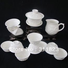 Wholesale Dragon Porcelain Tea Set - Wholesale-WHOLESALE Jade Porcelain Embossed Dragon Tea Set Kung Fu Teaset Teaware free shipping