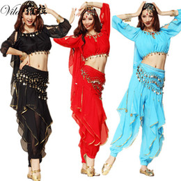 Wholesale Belly Dance Bloomers - Best selling Lantern Top & Gold Wavy Pant Bloomers & Hip Scarf &Headband Belly Dance Costume