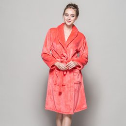 Wholesale Women S Soft Robes - Wholesale- New Soft Quality Flannel Bath Robes Feminino Women Pink Red Bridesmaid Night Robes Winter Kimono Bathrobes For Weeding