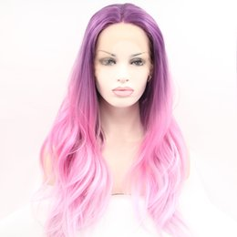 Wholesale Premium Lace Front - Factory price omber pink wigs premium long natural wave heat resistant wig synthetic lace front wig free shipping