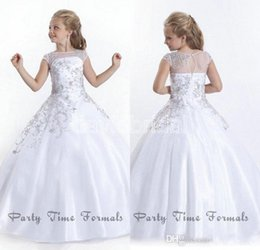 Wholesale Short Little Girls Pageant Dresses - 2016 Cheap Crystal Short Sleeves Flowergirl White Flower Girl Dresses Gowns Little Girls Pageant Dresses Size Little Pageant Gowns for Girls