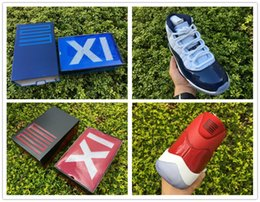 Wholesale Fabric Buckles - Top Quality OG Box Real Carbon Fiber Air Retro 11 Gym Red Chicago 378037-623 And Midnight Navy 378037-123 Size 7.5-13.5
