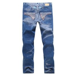 Wholesale American Flag Men Pants - 2016 New Brand Robin Jeans for Men Denim with Wings American Flag Jeans Straight Slim Gym Joggers Pants Mens Robins Jeans Plus Size