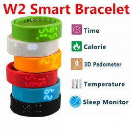 Wholesale Thermometer Bracelet - W2 Bracelets Smart Wristbands Watch Slim Bracelet Watches Wristband Rushed Step Fitness Tracker 3D Pedometer Sleep Monitor Thermometer