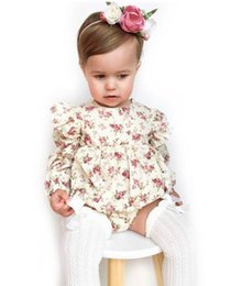 Wholesale Fresh Clothing - 2018 Spring New Baby Girl Bodysuits Floral long sleeve Fresh jumpsuit Baby Clothing 0-3T H739