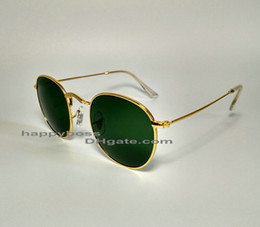 Wholesale Best Selling Men Women Fashion Gafas de sol Golden Green Round Metal Frame mm Glass Lenses Diseñadores Gafas de sol Excelente calidad