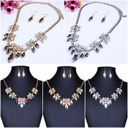 Wholesale Indian Women Sexy Hot - Hot Sell Rhinestone Jewelry Sexy Earrings Choker Pendent Necklace Women lady Party Wedding TL9614*1