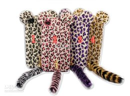 Wholesale Pink Cat Tail - Cartoon Plush Leopard soft TPU silicone fluffy cat tail case for iphone 4 4S 5 5S 5G & 4 colours