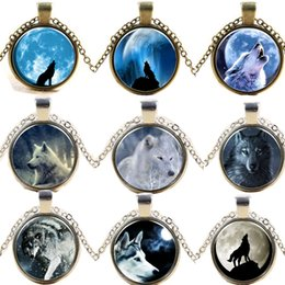 Wholesale Glass Cabochons Pendants - Photo Glass Cabochons necklace Wolf Totem round locket sweater chain time stone 2015 new free shipping