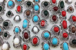 Anéis de estilo tibetano on-line-LOTE 50 PCS Estilo Vintage Menina das Mulheres Tibet Prata Banhado A Resina Imitação Turquesa Anéis Ajustável Frete Grátis MR59