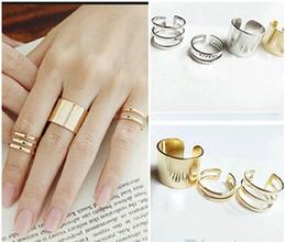 Anéis de dedo abertos on-line-Elegante Top Of Finger Knuckle Anel Aberto de Alta qualidade Liga de Polimento de Moda Jóias Cluster Anéis 3 Pcs set R083
