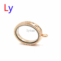 Wholesale Zinc Alloy Pendants Rose Gold - Rose gold magnetic oval floating locket zinc alloy fake rhinestone floating locket pendant with 70mm ballchain free LFP0174