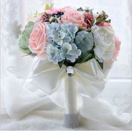 Wholesale Wedding Oil Paintings - Greece Oil Painting Style Grey Peony Artificial Flowers Bouquets Home Decoration With Leaf Wedding Bridal Bouquet