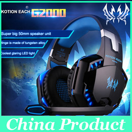 Wholesale Headphones Games - Professional Gaming Headset Headphones KOTION EACH G2000 Over Ear Headband With Mic Stereo Good Bass LED Light For PC Game 010007