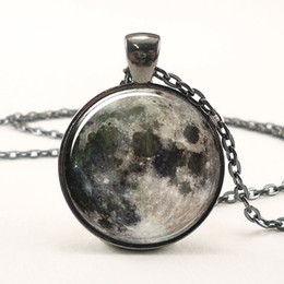 Wholesale Picture Full Moon - Full Moon Necklace, Space Picture Pendant, Galaxy Jewelry