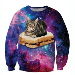 Wholesale Hamburger Pullover - w1213 Raisevern new galaxy 3D sweatshirts funny cat sit on hamburger pattern printed hoodies men women fashion streetwear pullovers