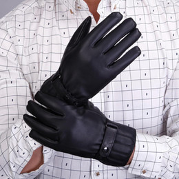 Wholesale Cashmere Gloves Sale - Wholesale-2015 Vosicar Hot Sale Mens PU Leather Waterproof Winter Driving Warm Gloves Cashmere Black Freeshipping & Wholesale