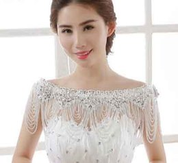 Wholesale Sumptuous Crystal - 2016 Hot sell Bride jewelry sumptuous handmade lace crystal shoulder chain tassel epaulets necklace Wedding dress accessories yzs168
